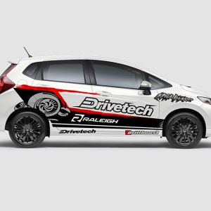 Decal Sticker Honda Jazz RS Drivetech Turbo Desain