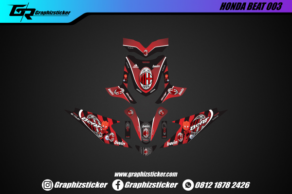 Decal Sticker Honda Beat AC Milan Merah Hitam