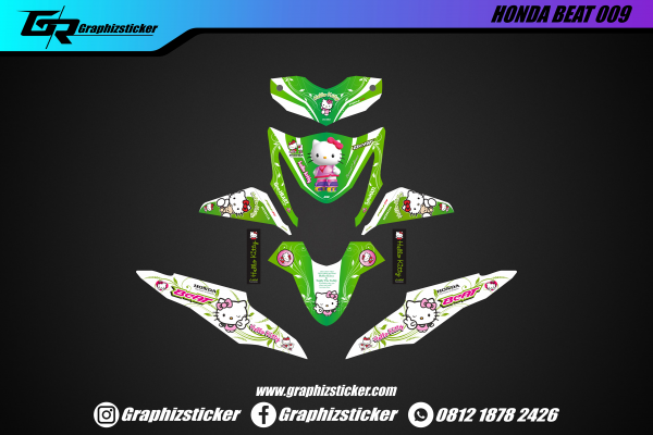 Decal Striping Honda Beat Hello Kitty