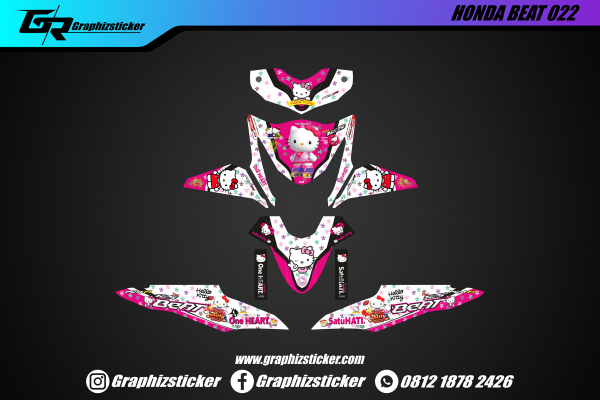 Decal Striping Honda Beat Hello Kitty Pink