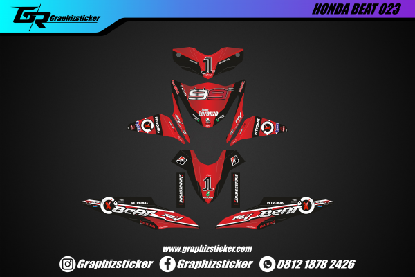Decal Striping Honda Beat Lorenzo Hitam Merah