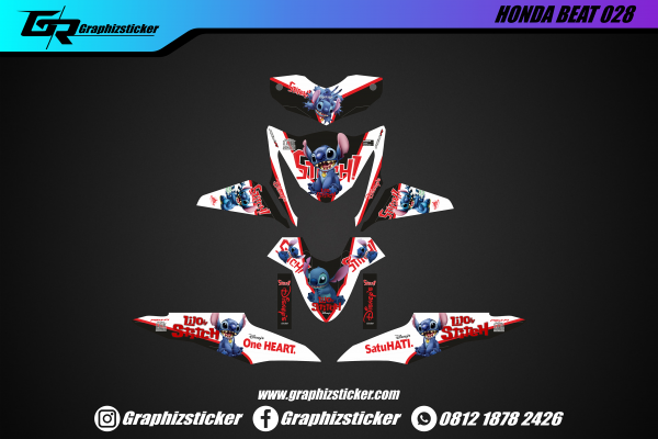 Decal Striping Honda Beat Stitch Merah Putih