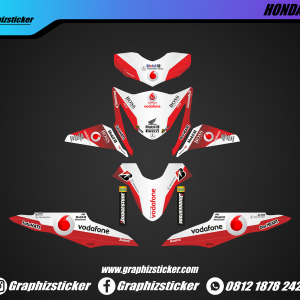 Decal Striping Honda Beat Vodafone Merah Putih