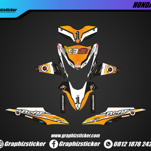 Decal Striping Honda Beat Lorenzo Oranye Putih