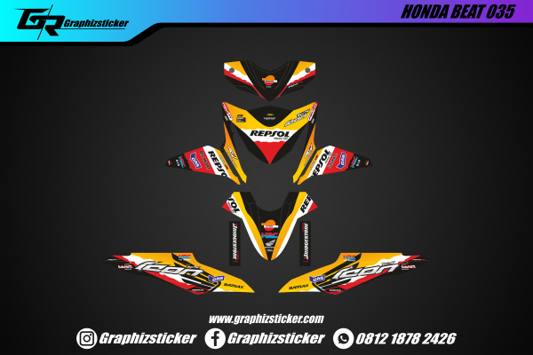 Decal Sticker Honda Beat Repsol Original