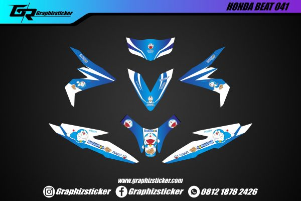 Decal Sticker Honda Beat Doraemon Biru Putih