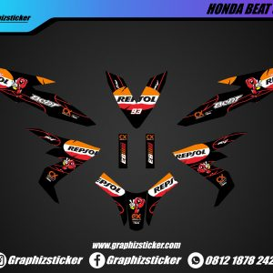 Decal Sticker Honda Beat Repsol Hitam