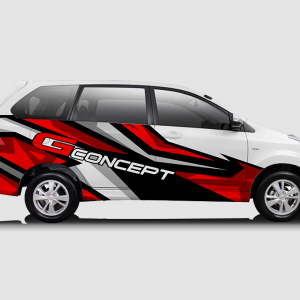 Decal Sticker Toyota Avanza Merah Hitam Racing