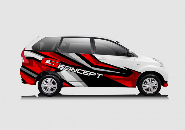 Decal Sticker Toyota Avanza Merah Hitam Racing