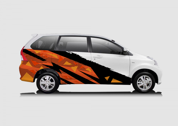 Decal Sticker Toyota Avanza Oranye Hitam Racing